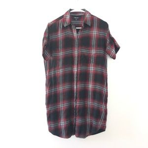 Madewell Button Front Plaid Tunic Dress XS